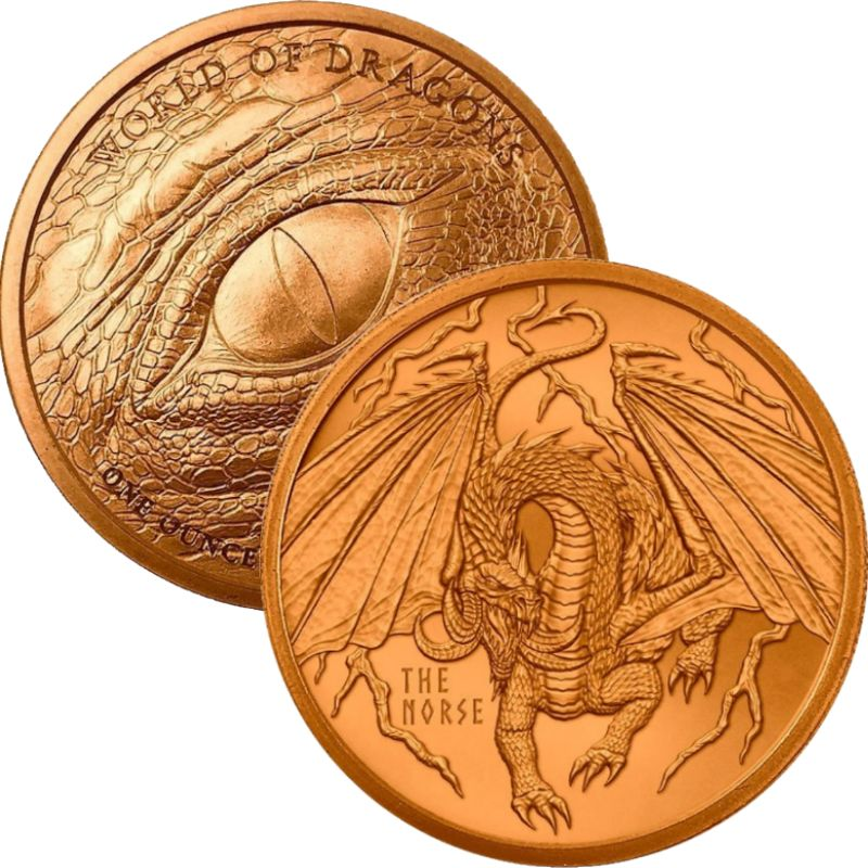 The Norse Dragon #4 (World Of Dragons Series) 1 oz .999 Pure Copper Round