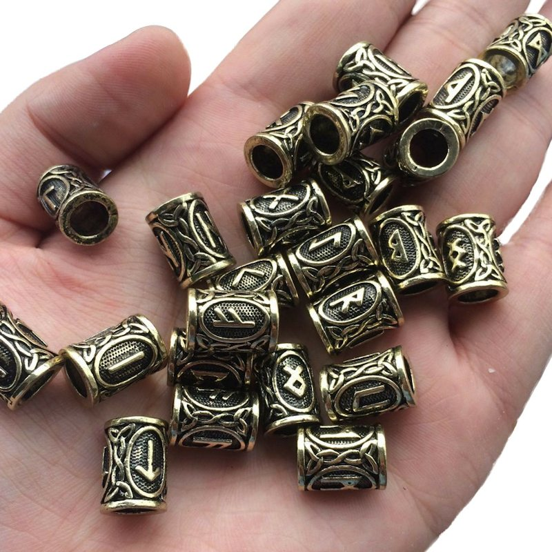 Norse Viking Rune Beads (Antique Brass) (6 Pack)
