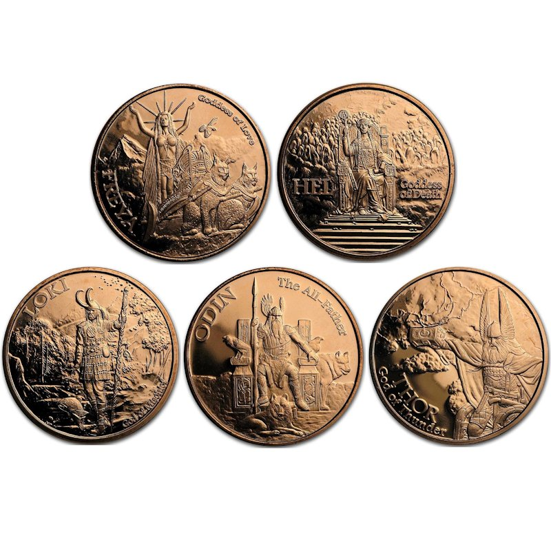 Complete Set of (5) Norse God Series Designs 1 oz .999 Pure Copper Rounds