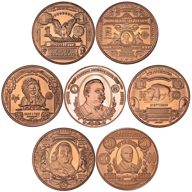 Complete Set of (7) Different Note Designs 1 oz .999 Pure Copper Rounds