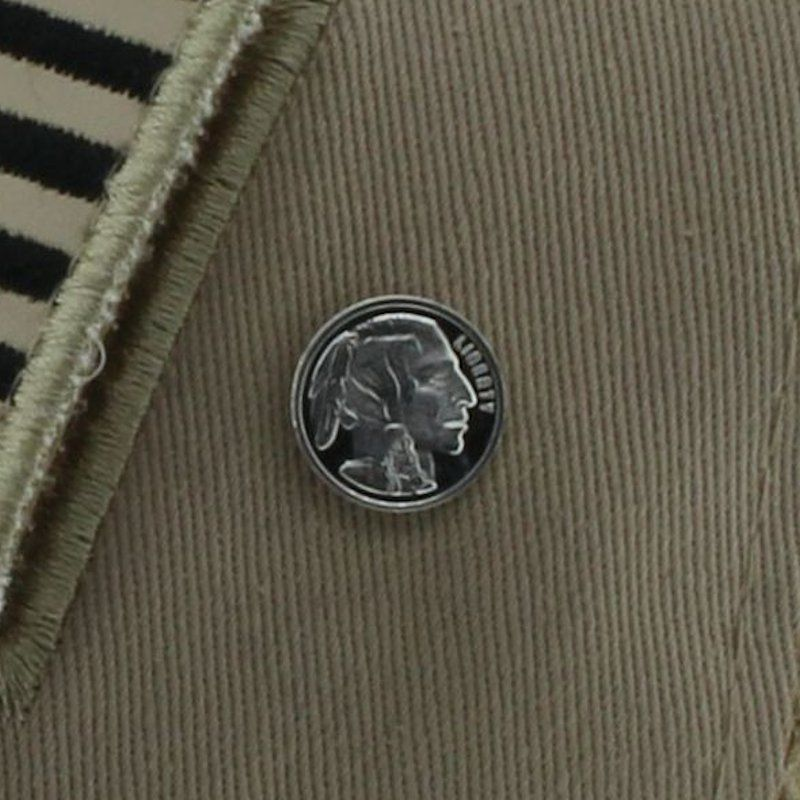 Buffalo Nickel (Indian) Design .999 Pure Silver 1 Gram Pin By Barter Wear