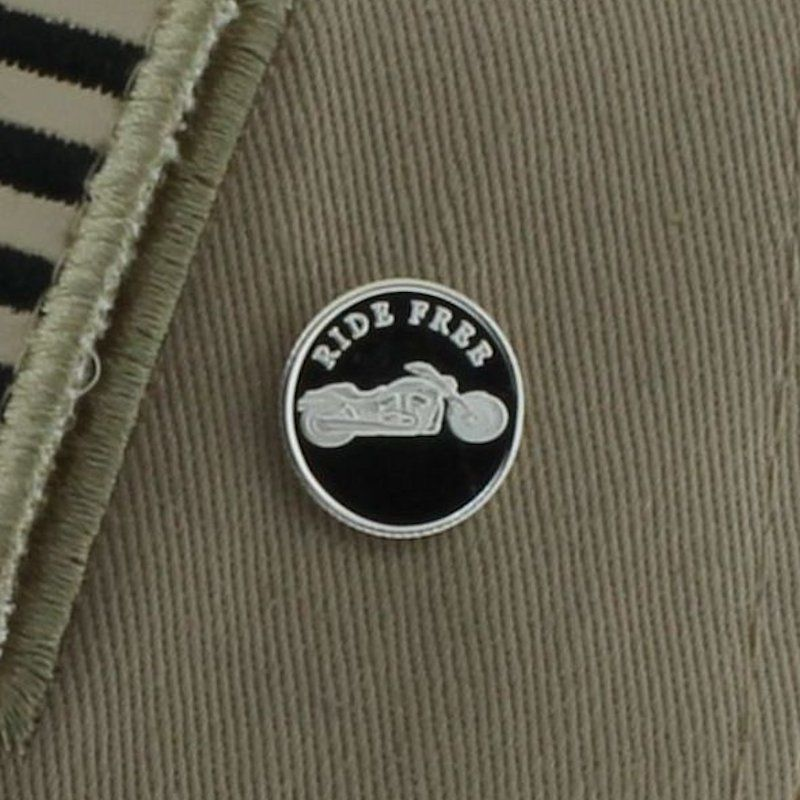 Ride Free Motorcycle.999 Pure Silver 1 Gram Pin By Barter Wear