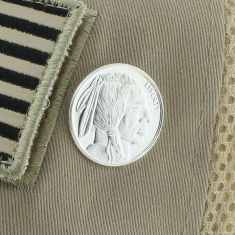 Buffalo Nickel Design .999 Pure Silver 1/4 Oz. Pin By Barter Wear