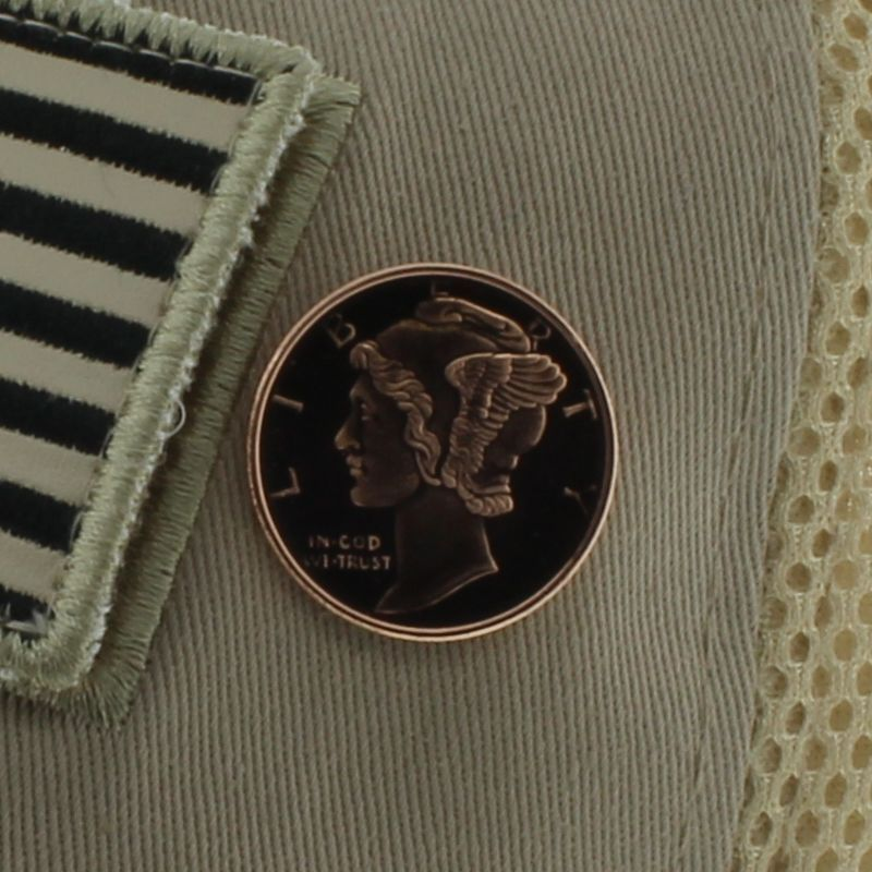 Mercury Dime Design .999 Pure Copper 1/4 Oz. Pin By Barter Wear