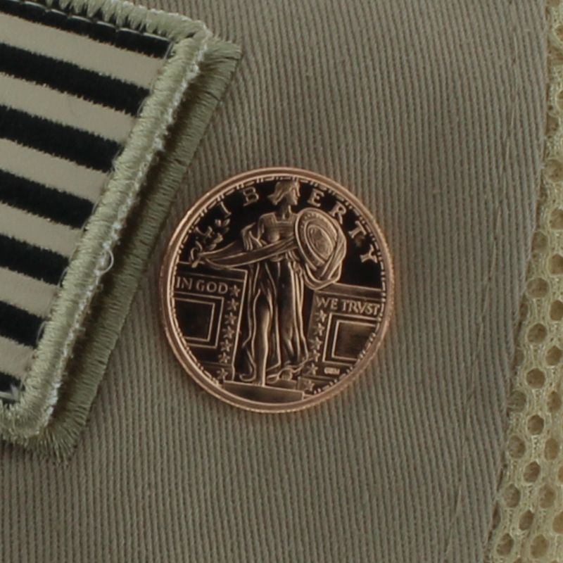 Standing Liberty .999 Pure Copper 1/4 Oz. Pin By Barter Wear