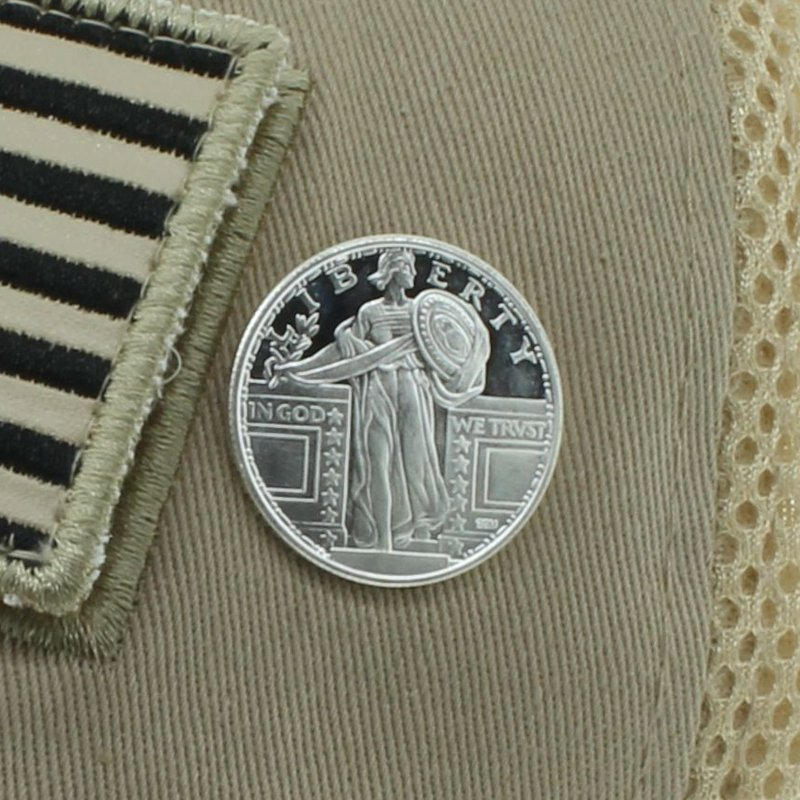Standing Liberty .999 Pure Silver 1/4 Oz. Pin By Barter Wear