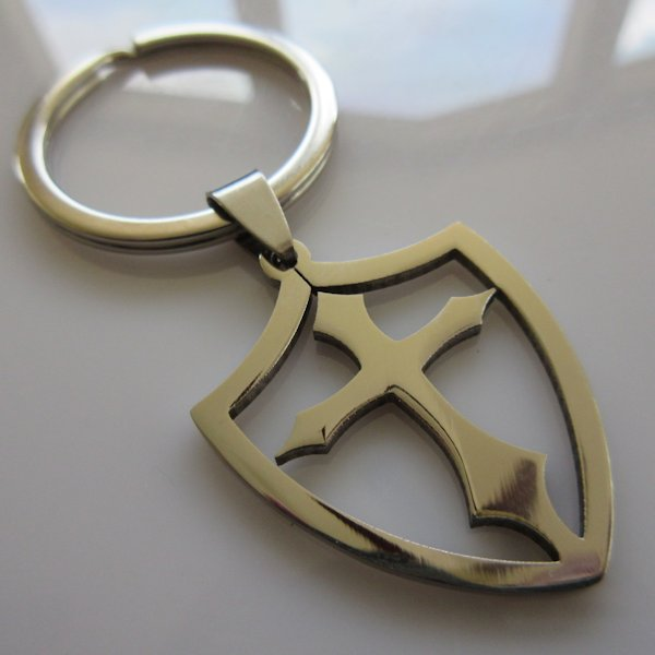 Open Shield Cross Key Ring ~ Stainless Steel