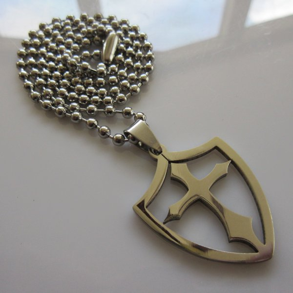 Open Shield Cross Necklace ~ Stainless Steel