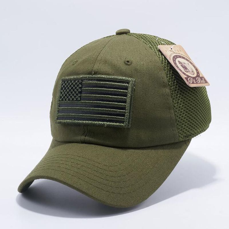 Olive Drab American Flag Velcro Patch Hat