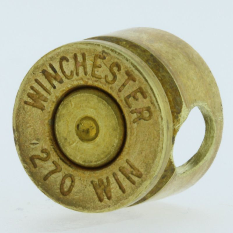 .270 Caliber Bullet Casing Bead In Brass With Brass Primer By Bullet Bangles