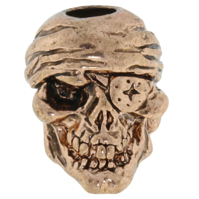 One-Eyed Jack Skull Bead in Antique Copper Finish by Schmuckatelli Co.