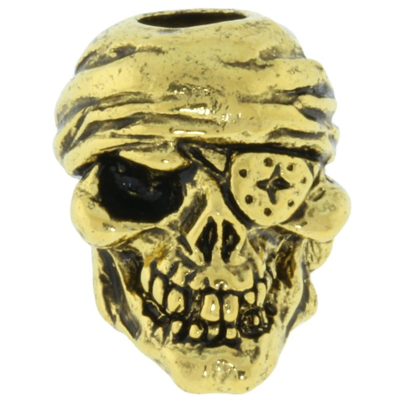 One-Eyed Jack Skull Bead in 18K Antique Gold Finish by Schmuckatelli Co.