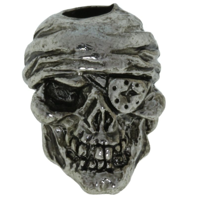 One-Eyed Jack Skull Bead in Antique Rhodium Finish by Schmuckatelli Co.