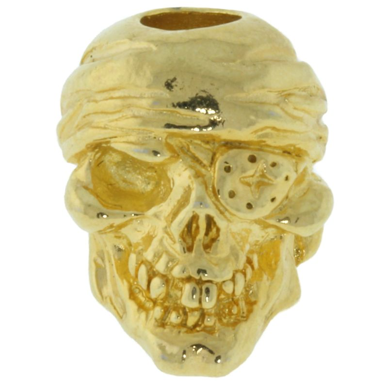 One-Eyed Jack Skull Bead in 18K Gold Plated Finish by Schmuckatelli Co.