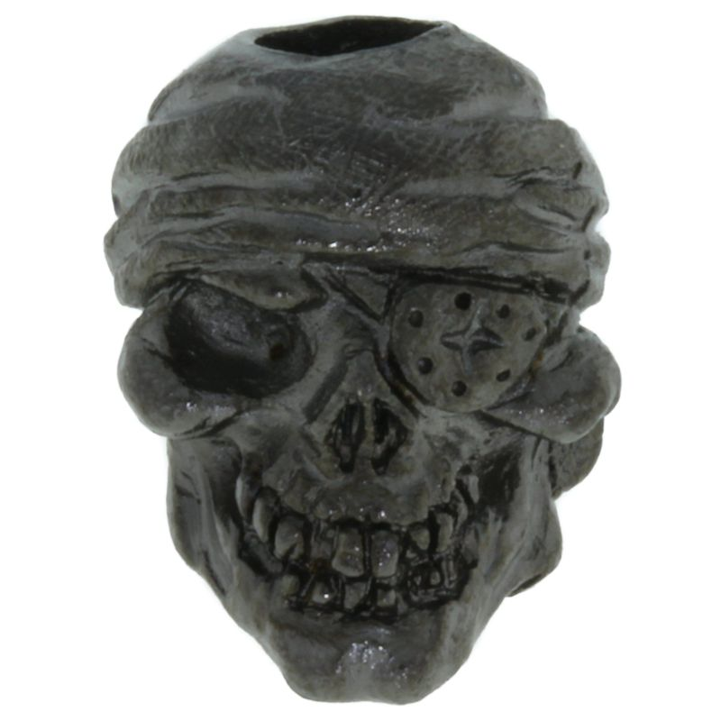 One-Eyed Jack Skull Bead in Hematite Matte Finish by Schmuckatelli Co.