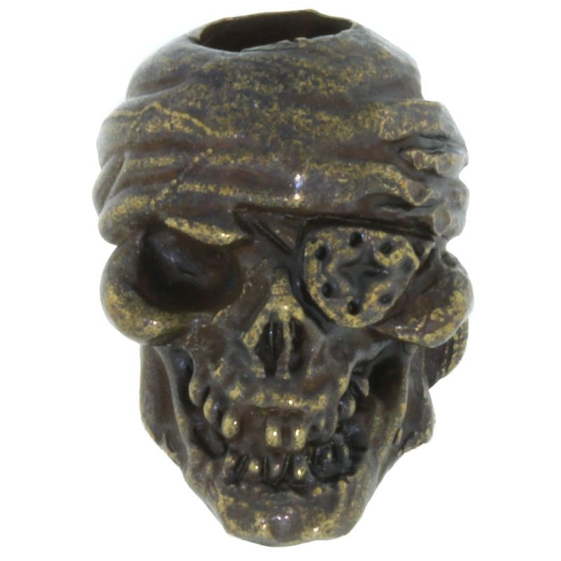 One-Eyed Jack Skull Bead in Solid Oil Rubbed Bronze by Schmuckatelli Co.