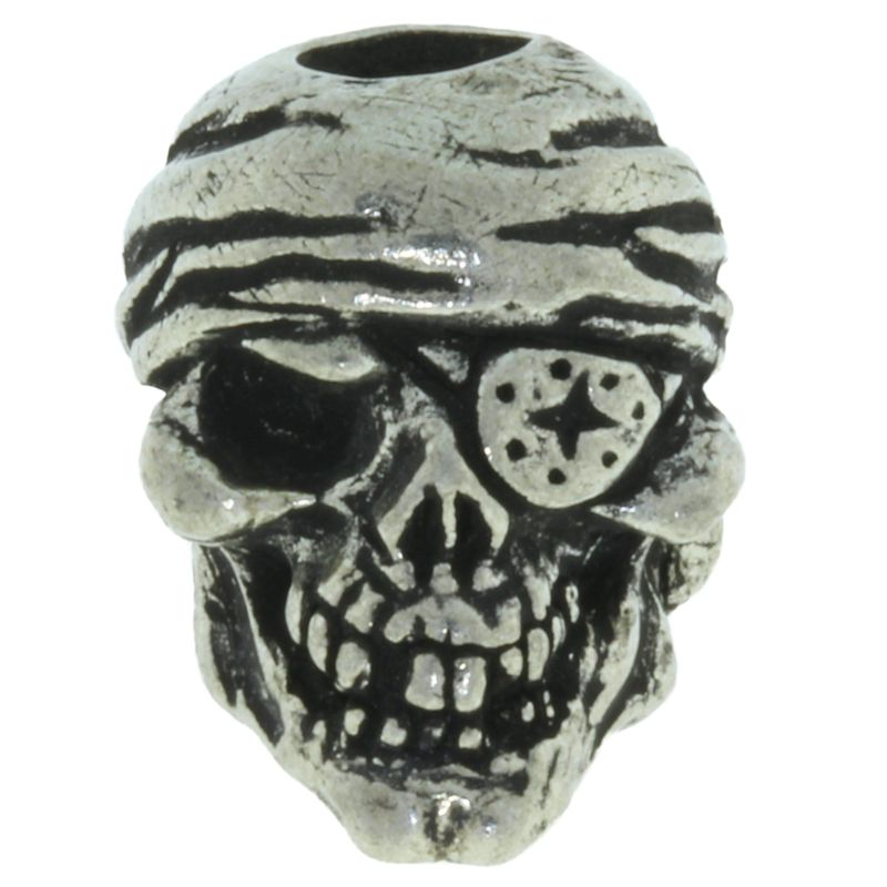One-Eyed Jack Skull Bead in Pewter by Schmuckatelli Co.