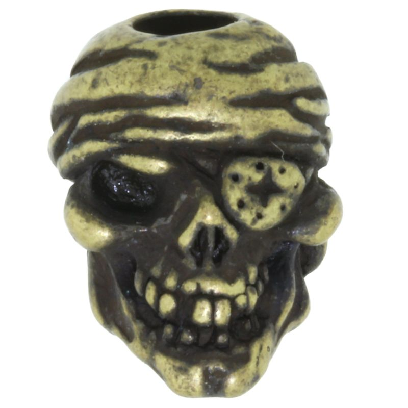 One-Eyed Jack Skull Bead in Roman Brass Oxide Finish by Schmuckatelli Co.