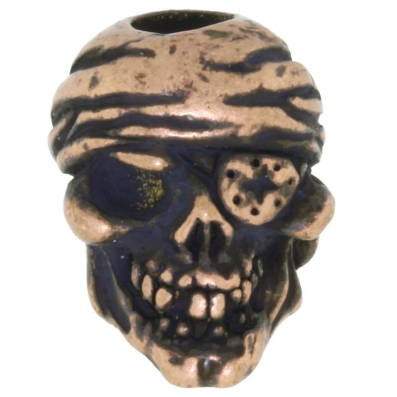 One-Eyed Jack Skull Bead in Roman Copper Oxide Finish by Schmuckatelli Co.