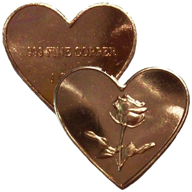 One Gram Rose Hearts From .999 Pure Copper (5 Pack)