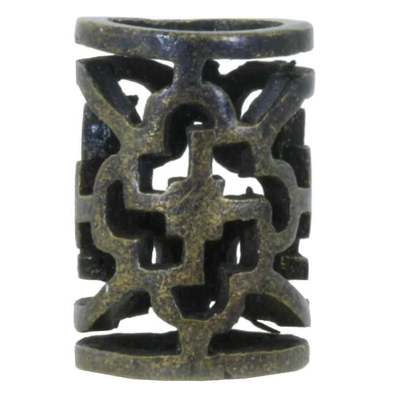 Ornamental Tube Spacer Bead in Brass With Black Patina by Covenant Everyday Gear