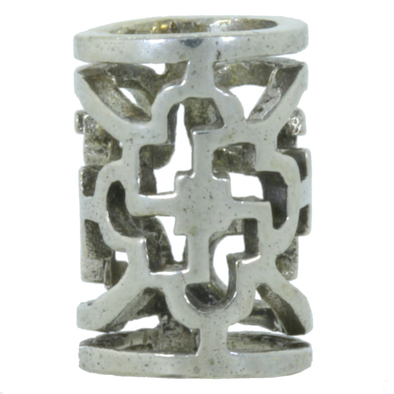 Ornamental Tube Spacer Bead in White Brass by Covenant Everyday Gear