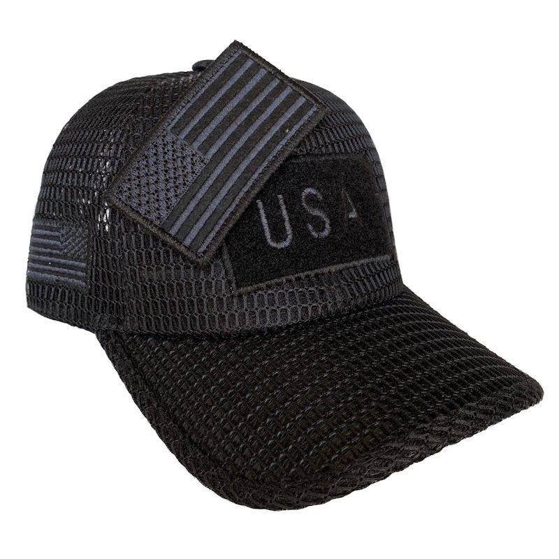 Black (Large Open Mesh) American Flag Velcro Patch Hat
