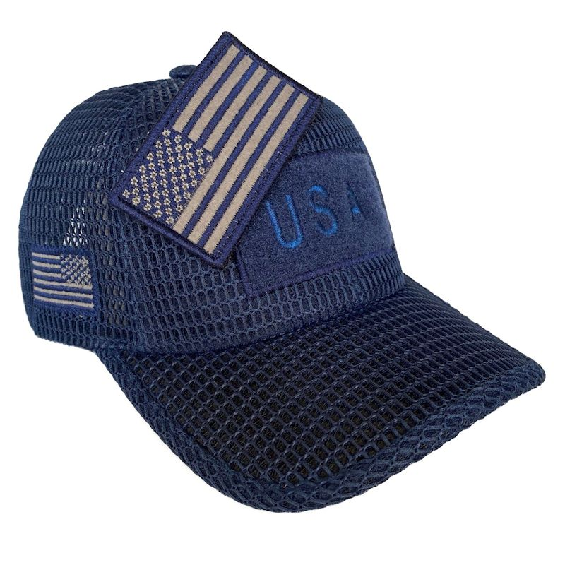 Dark Blue (Large Open Mesh) American Flag Velcro Patch Hat