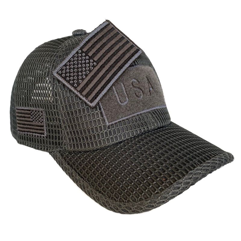 Dark Gray (Large Open Mesh) American Flag Velcro Patch Hat