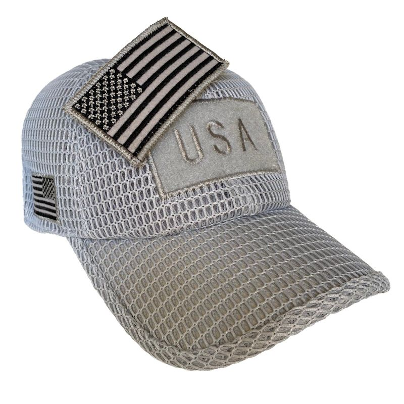 Light Gray (Large Open Mesh) American Flag Velcro Patch Hat