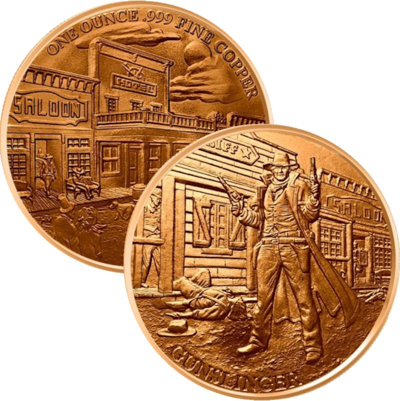 Gunslinger ~ Prospector Series 1 oz .999 Pure Copper Round