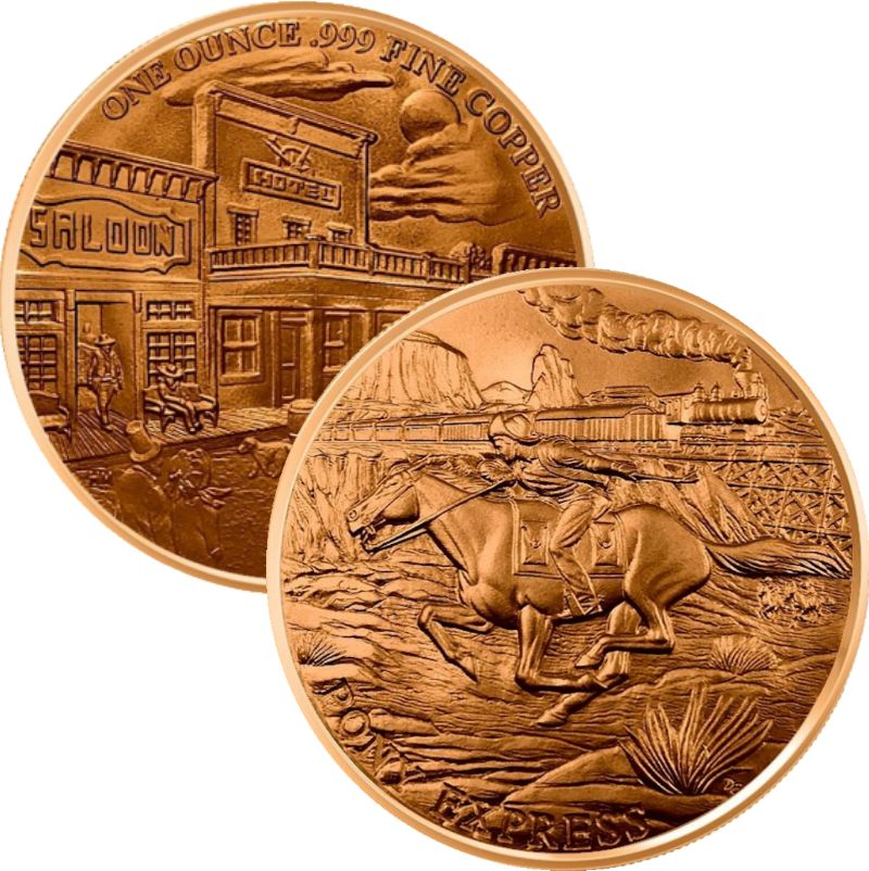 Pony Express ~ Prospector Series 1 oz .999 Pure Copper Round