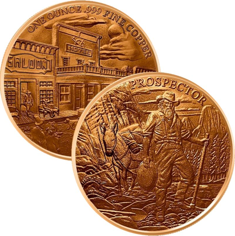 The Prospector ~ Prospector Series 1 oz .999 Pure Copper Round