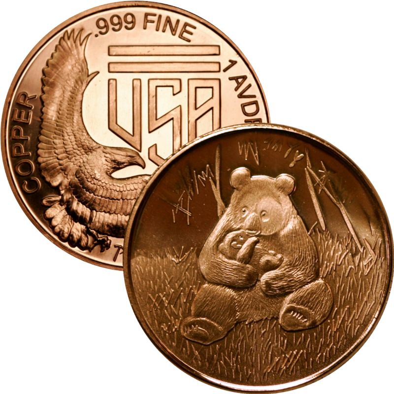 Panda Bear Design #2 (Private Mint) 1 oz .999 Pure Copper Round