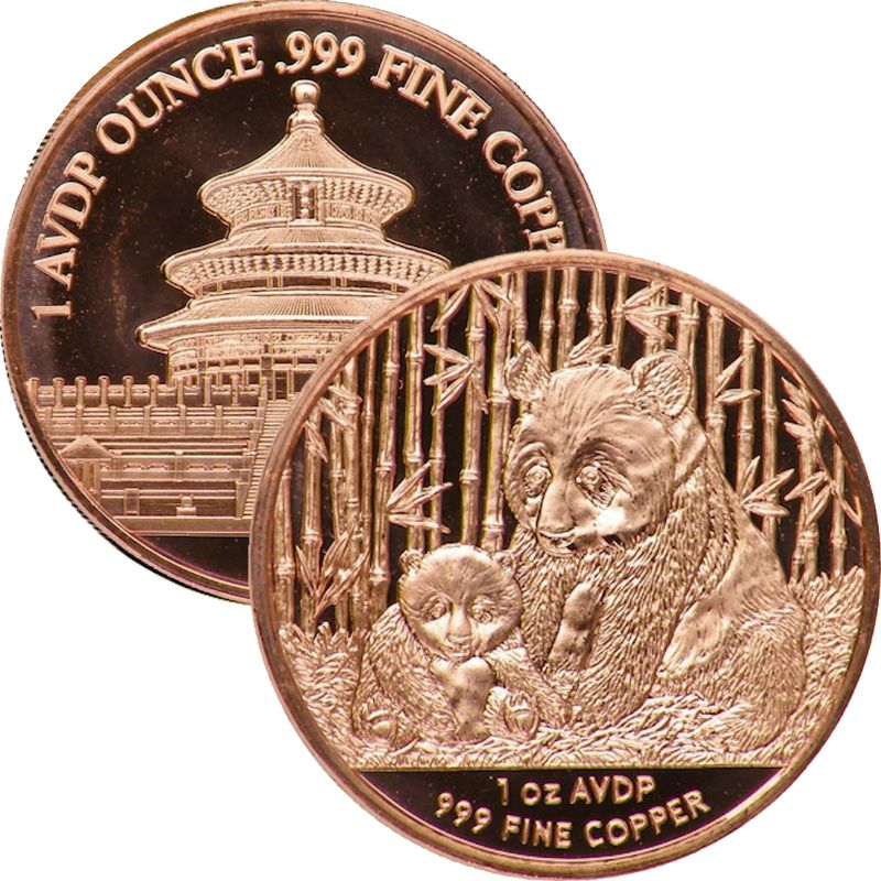 Panda 1 oz .999 Pure Copper Round