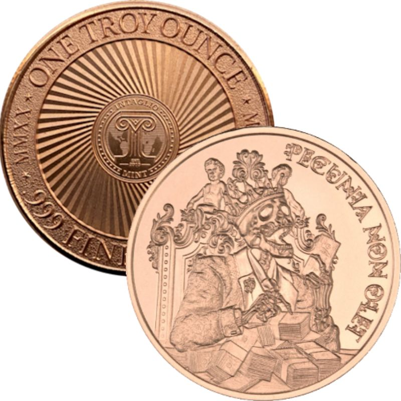 Pecunia Non Olet (Money Does Not Stink) (New Reverse) ~ Design 1 ~ 1 oz .999 Pure Copper Round