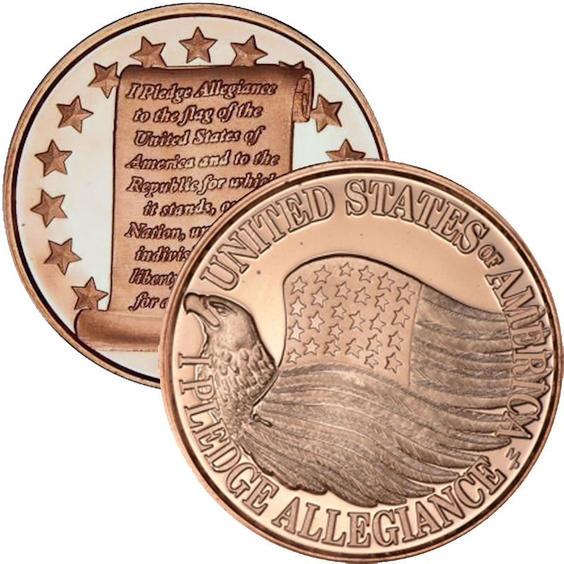 Pledge Of Allegiance United States Of America 1 oz .999 Pure Copper Round