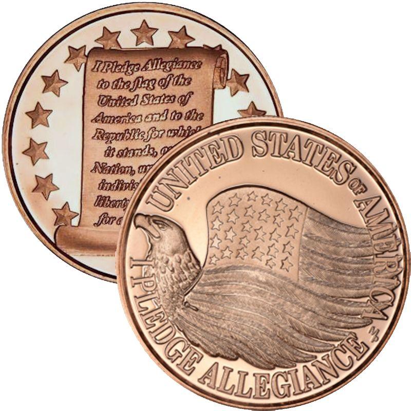 "Copper Round  Coin /""PLEDGE ALLEGIANCE/""    United States of America  1 oz"