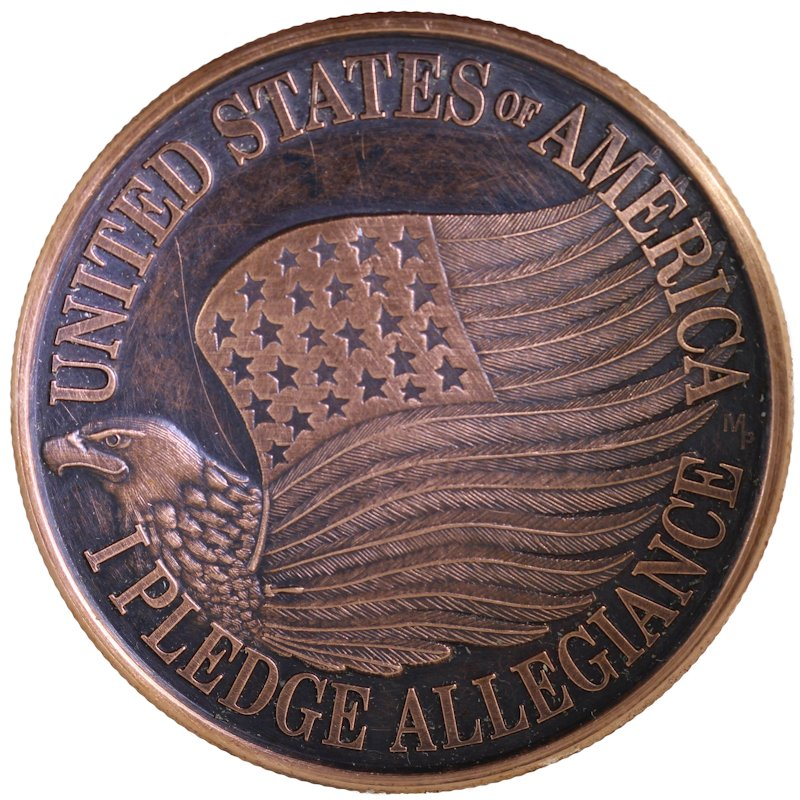 Pledge Of Allegiance United States Of America 1 oz .999 Pure Copper Round (Black Patina)