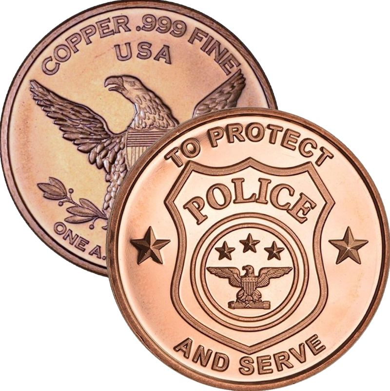 Police - To Protect and Serve 1 oz .999 Pure Copper Round