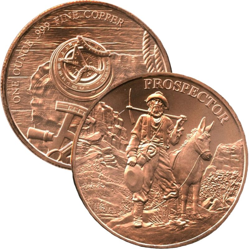 Prospector 1 oz .999 Pure Copper Round