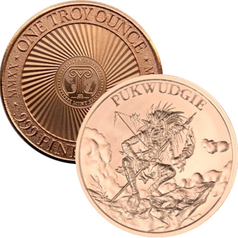 Pukwudgie (New Reverse) 1 oz .999 Pure Copper Round