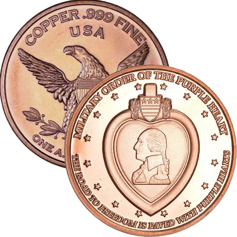 Purple Heart 1 oz .999 Pure Copper Round