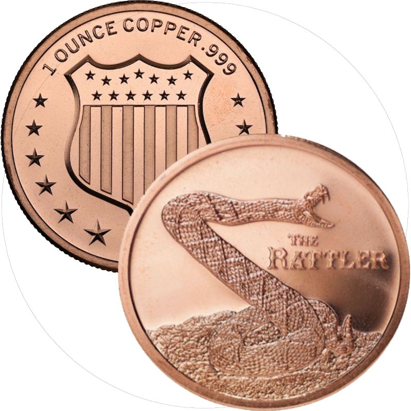 The Rattler 1 oz .999 Pure Copper Round