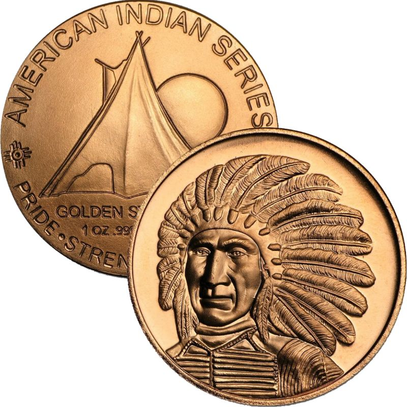 Chief Red Cloud 1 oz .999 Pure Copper Round