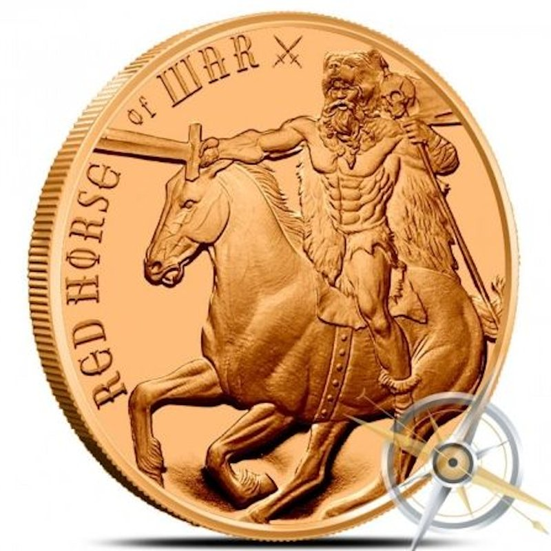 Red Horse of War 1 oz .999 Pure Copper Round