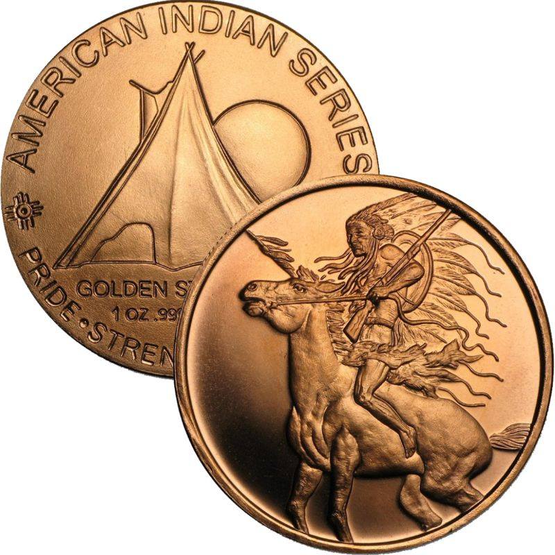Chief Red Horse 1 oz .999 Pure Copper Round