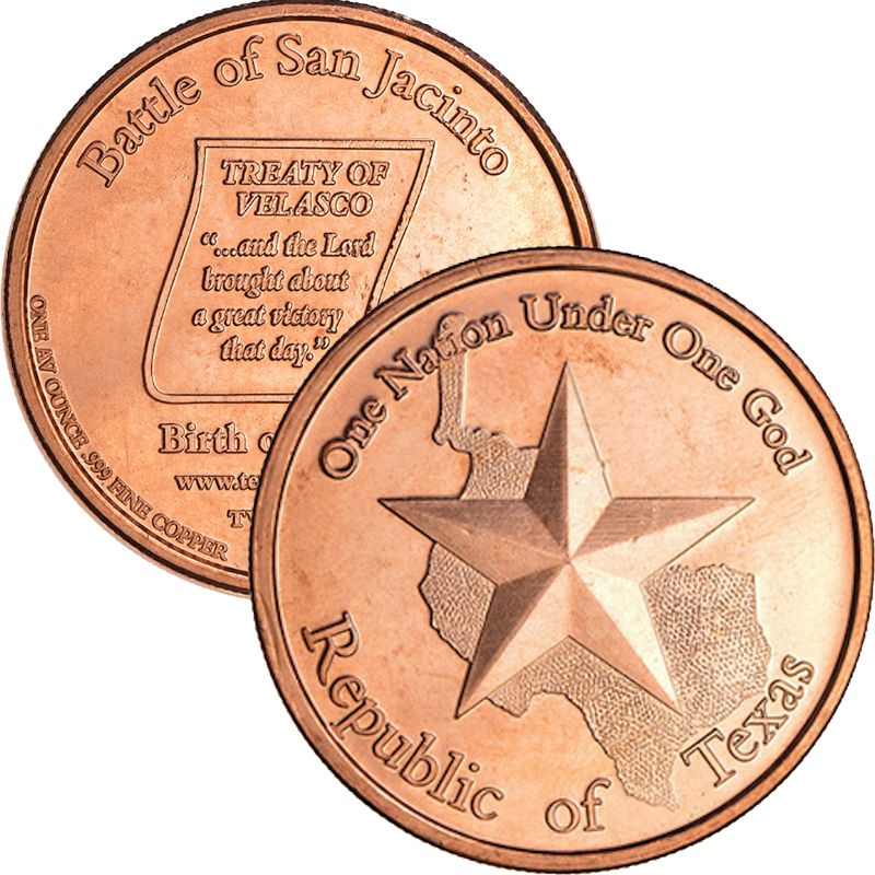 Republic Of Texas (AOCS) (2010) 1 oz .999 Pure Copper Round