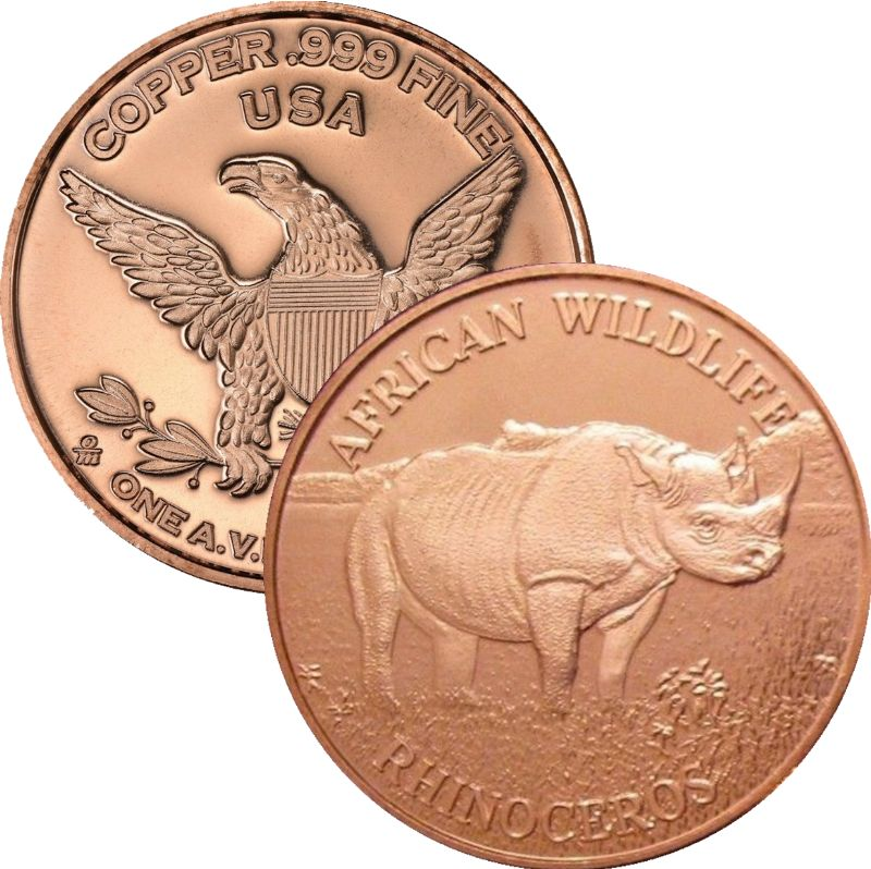 African Wildlife Rhinoceros 1 oz .999 Pure Copper Round