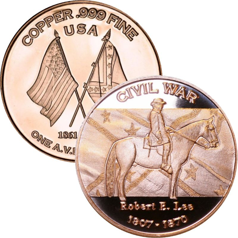 Robert E. Lee ~ Civil War Series 1 oz .999 Pure Copper Round